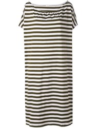 Apuntob Striped Dress Women Cotton 1 Green