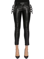 Dsquared Western Buckles Leather Pants Black