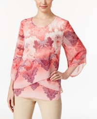 Jm Collection Petite Printed Criss Cross Blouse Only At Macy's Pacific Chant Pink