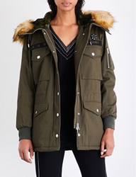 The Kooples Sport Ladies Khaki Stylish Patch Embroidered Cotton Parka Coat