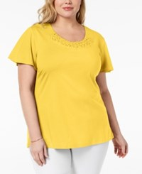 Karen Scott Plus Size Basketweave Trim T Shirt Created For Macy's Lemon Sugar