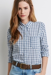 Forever 21 Gingham Pocket Shirt Blue Cream
