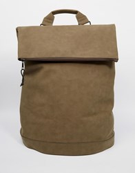 Asos Backpack In Khaki With Zip Top