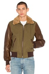 Schott B 15 Flight Jacket With Sheep Fur Collar Olive