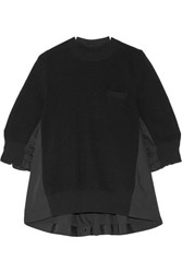 Sacai Paneled Cotton Poplin And Ribbed Knit Top Black