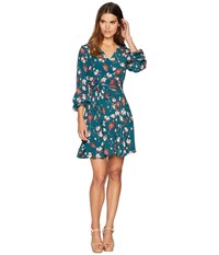 Miss Me Printed Faux Wrap Dress Teal Green