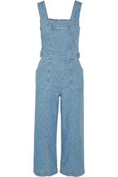 Current Elliott The Dweller Cropped Denim Overalls Mid Denim