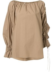 Camilla And Marc Parker Ruched Cotton Blouse Brown