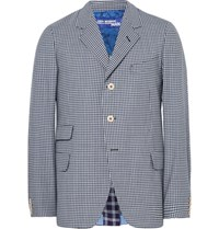 Junya Watanabe Blue Slim Fit Checked Wool Blazer Navy