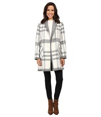 Michael Stars Double Faced Flanel Plaid Reversible Coat Chalk Galvanized Women's Coat Gray