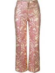 Manoush Sequined Pleated Straight Trousers Multicolour