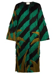 Marco De Vincenzo Palm Tree Fringed Collarless Coat Green Multi
