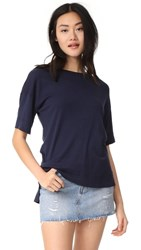 Three Dots Slub Tuxedo Tee Night Iris