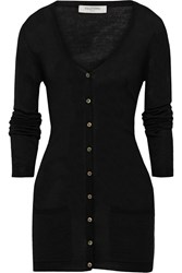 Valentino Waist Tie Wool And Silk Blend Cardigan Black