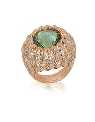 Azhar Rings Rose Sterling Silver Riccio Ring W White Cubic Zirconia And Green Stone