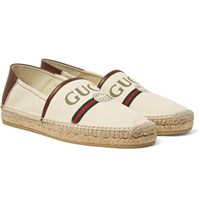 Gucci Alejandro Collapsible Heel Logo Print Canvas Espadrilles Off White