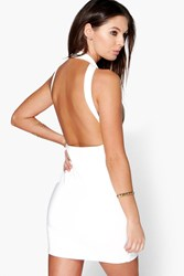 Boohoo Strappy Open Back Detail Bodycon Dress Ivory