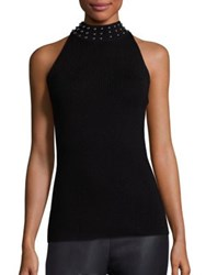 Ramy Brook Valery Merino Wool Stud Sweater Black