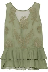 W118 By Walter Baker Gabby Embroidered Chiffon Top Army Green