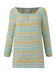 Lands' End Square Neck Striped Linen Tunic Blue Multi