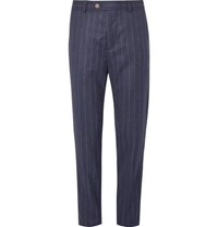 Brunello Cucinelli Navy Chalk Striped Wool Suit Trousers