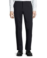 Dkny Wool Blend Straight Leg Trousers Navy