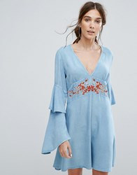 Neon Rose V Neck Tea Dress With Ruffle Layer Sleeves And Floral Embroidery Blue