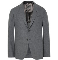 Caruso Grey Butterfly Slim Fit Wool And Cashmere Blend Blazer Gray