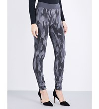 Wolford Camouflage Glitter Leggings Dark Grey Black Silver