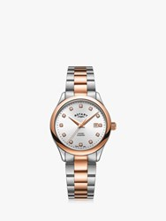 Rotary Lb05094 70 D 'S Oxford Diamond Date Bracelet Strap Watch Silver Rose Gold