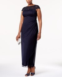 Msk Plus Size Embellished Ruched Cascade Gown Deep Navy