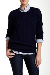 Trovata Cable Knit Wool Blend Sweater Blue
