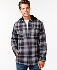 Hurley Emmit Plaid Hooded Shirt Jacket Anthracite