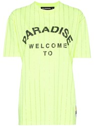 Filles A Papa Paradise Crystal Embellished Cotton T Shirt Yellow