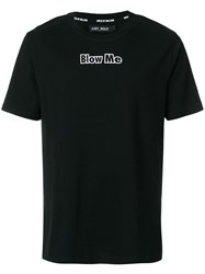 House Of Holland Blow Me Printed T Shirt Cotton Black