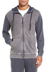 Daniel Buchler Men's Washed Cotton Blend Terry Zip Hoodie Color Block Charcoal Navy