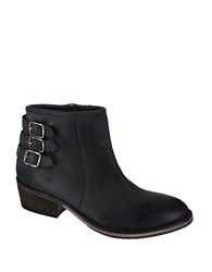 Mia Neal Leather Buckled Ankle Boots Black