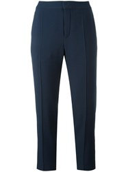 Chloe Slim Fit Cropped Trousers Blue