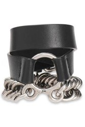 Alexander Wang Woman Burnished Silver Tone And Leather Bracelet Black