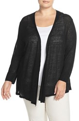 Plus Size Women's Nic Zoe '4 Way' Three Quarter Sleeve Convertible Cardigan Black Onyx