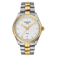 Tissot T1014102203100 Men's Pr 100 Date Two Tone Bracelet Strap Watch Silver Gold