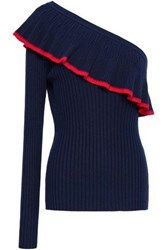 Baum Und Pferdgarten Woman One Shoulder Ruffled Ribbed Knit Top Midnight Blue