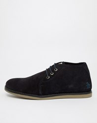Original Penguin Suede Lace Up Shoes In In Navy