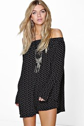 Boohoo Off The Shoulder Feather Print Dress Black