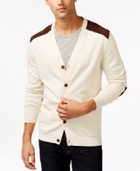 Tasso Elba V Neck Faux Suede Patch Cardigan Only At Macy's Silverbirch Heather