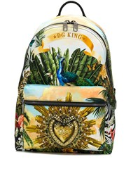 Dolce And Gabbana Dg King Print Backpack Yellow