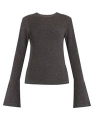 Le Kasha Boston Fluted Sleeves Cashmere Sweater Grey