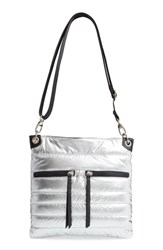 Sondra Roberts Faux Leather Crossbody Messenger Bag Metallic Silver