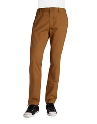Original Penguin Straight Leg Cotton Pants Brown