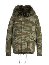 Mr And Mrs Italy Fur Lined Camouflage Print Canvas Mini Parka